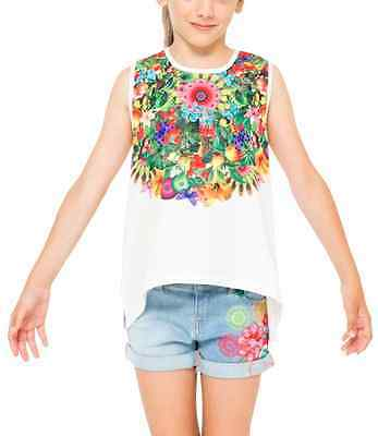 NWT Desigual Girls Top Shirt Mojito Floral Sequin Butterfly Print sz 7/8 TWEEN