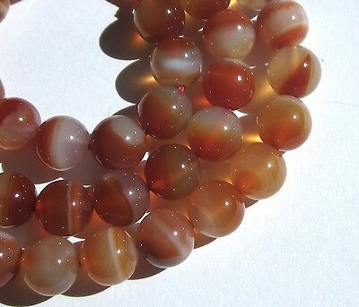 """16"""" Strand Of Stunning Small Banded Carnelian Agate Eye Beads"""