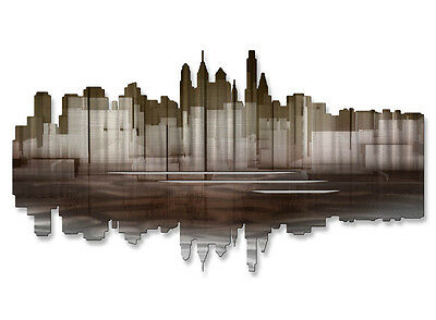 Philadelphia Reflection II Modern City Painting on Metal Wall Art by Ash Carl
