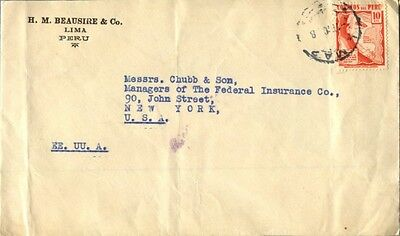 Lima Peru 10 cts single franked cover to New York City US