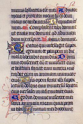 ILLUMINATED MANUSCRIPT BOOK OF HOURS LEAF c.1450 - PSALM 41, GOLD INITIALS!