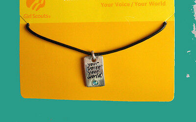 CHARM NECKLACE, MOC Girl Scouts Your Voice-Your World Journey Jewelry GIFT