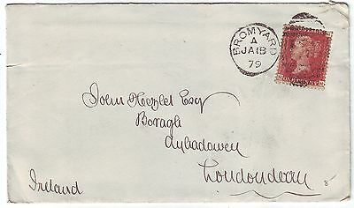HEREFORDSHIRE 1879 penny red plate215 on cover *BROMYARD-LONDONDERRY, IRELAND*