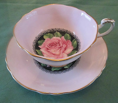 Vintage Paragon Cup and Saucer Black Pink Rose