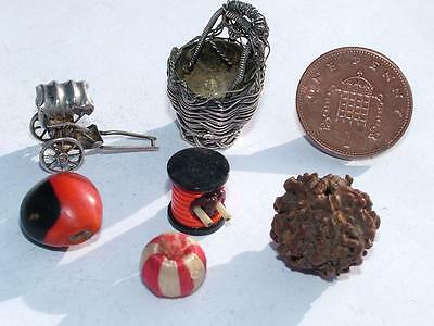 Chinese Export Silver Basket & Rickshaw + Beads - Estate Clearance