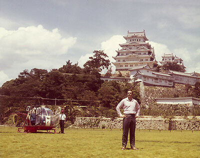 Sean Connery James Bond by helicopter on set ORIGINAL 5x4 Transparency Slide