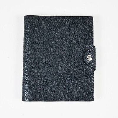 """Hermes Black Togo Leather """"Ulysse"""" PM Agenda Notebook Cover with Paper Refill"""