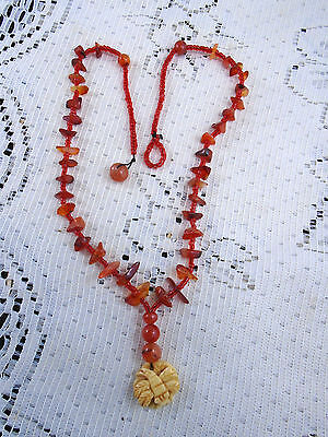 Antique Japanese Fine Carved Ojime Carved Dragonfly on Carnelian Bead Necklace