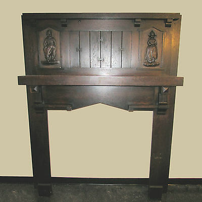 Beautiful Early 1900's Oak Mantel w/Dutch Boy & Girl Inserts Original Condition