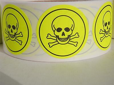 Poison Skull/Cross Bones  chartreuse fluorescent Warning Stickers Labels 500/rl