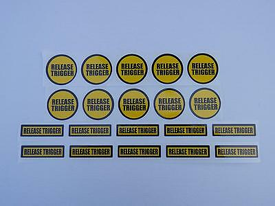20 RELEASE TRIGGER Warning Sticker, cut label decal for shotgun safety