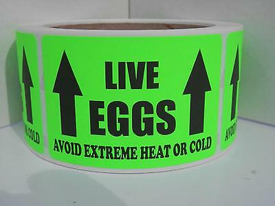 LIVE EGGS AVOID EXTREME HEAT OR COLD Hatching Egg Label Fluor Green 250/rl