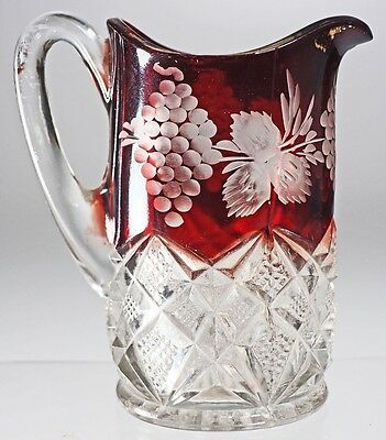 EAPG - RUBY DIAMOND - Breakfast Creamer - Ruby Stained and Etched.