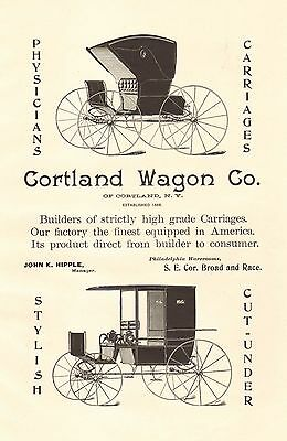 Cortland, New York, Cortland Wagon Co. Carriage, Vintage 1898 Antique Art Print