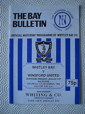 Whitley Bay v Winsford United (Northern Premier League Cup 2nd Round Dec 1993)