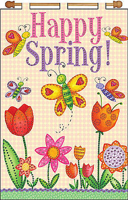 Jeweled Banner Kit ~ Design Works Happy Spring! Butterflies and Flowers #DW4127