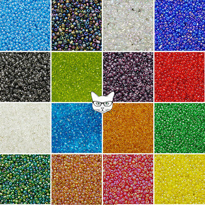 50g Glass Seed Beads Size 8/0 3mm Transparent Rainbow AB Jewellery Making Craft