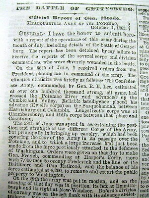 1863 Civil War newspaper GEN GEORG MEADE eyewitness account BATTLE OF GETTYSBURG