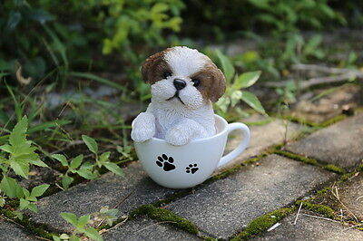 Shih Tzu Puppy Dog in a Cup Decoration Gift Resin 6 in. New Teacup