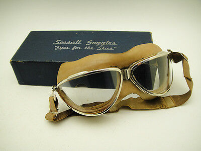 AVIATOR GOGGLES SEESALL EYES OF THE SKIES 40's VINTAGE PILOT RACER FLYING PLANE
