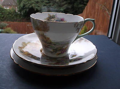 A1 Perfect Shelley China 'heather' 13419 Trio Green Handle Cup Saucer  Plate