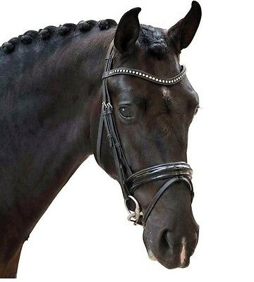 BNWT Curved/Wave Leather Browband with Clear Diamanté Crystals Black Cob Bling