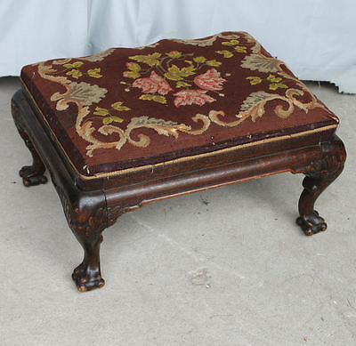 Antique Oak claw foot Foot Stool  Ottoman - with old needlepoint