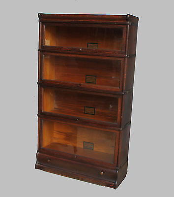 Antique Oak Bookcase 4 sectionals with drawer in base – Globe Wernicke