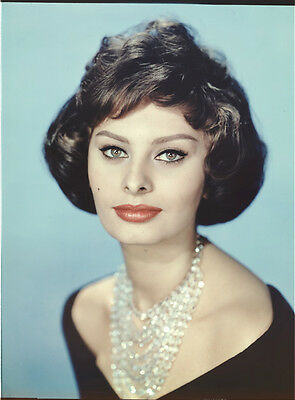 Sophia Loren beautiful portrait photo ORIGINAL 8x10 Color Transparency Slide