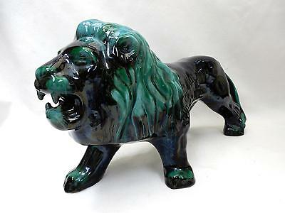 "Superb 17""  Redware LION Brilliant Black, Turquoise Glaze  BLUE MOUNTAIN POTTERY"
