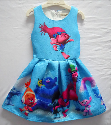 Cute Girls Princess Dress Kids Trolls Cartoon Printing Party Pageant Dresses3-8Y