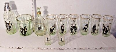 SWEET AD-ALINE GREEN GLASS 11 PIECE MATCHED ART DECO COCKTAIL SET 1930s