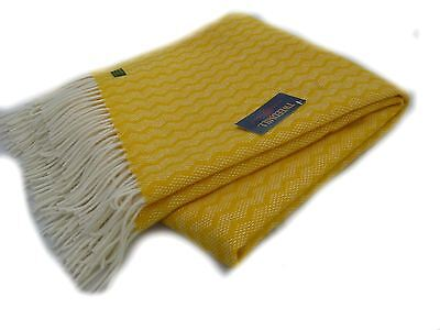 Zig Zag pure new wool knee rug throw Yellow BRITISH MADE by Tweedmill