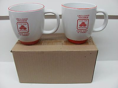 """Lot of (2) State Farm """"Like A Good Neighbor"""" Red/White Coffee Cup Pottery Mugs"""