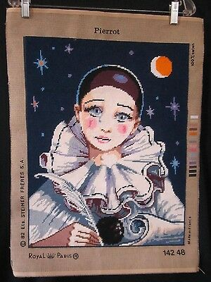 Well Executed Royal Paris Needlepoint Tapestry of Pierrot