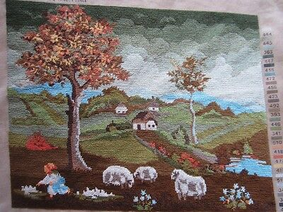 Country Scene With Sheep Unframed Domaci Pejsaz Petit Point Tapestry