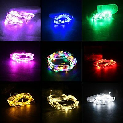 2M IP66 Waterproof 20 LED Silver Wire Button Battery String Light XRAU@#