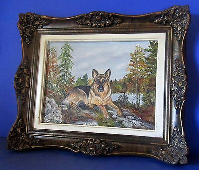 Gorgeous German Shepherd named Princess Signed Oil on Art Board 1981