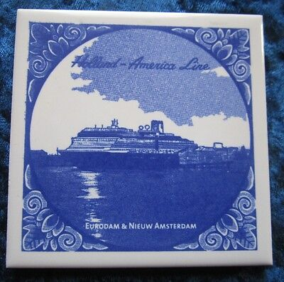 Holland-American Line Tile With Certificate Eurodam & Nieuw Amsterdam
