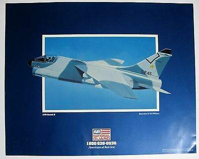 Air National Guard 1988 A-7D Corsair II Poster Illustrated by Ted Williams