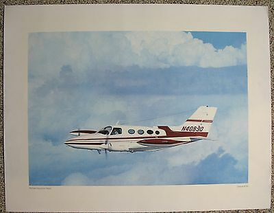 "Cessna 401A Print ""Refined Executive Travel"" Aviation Aircraft Poster"