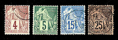 French Colonies  #48, 49(Mint H), 51, 53   Used  (1702077)