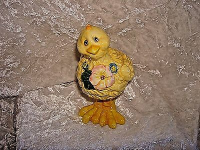 Easter Chick Wearing Garland Of Flowers Bobble Head Ceramic