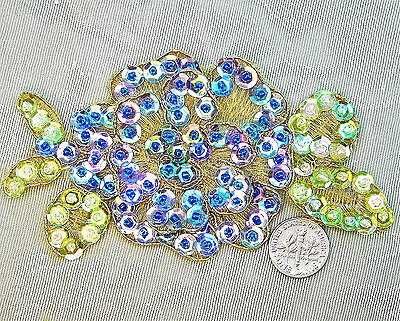 Sequined Lavender Blue Gold Rose Applique Lace 2.5 x4.5 in. Beaded