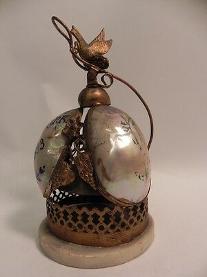 ANTIQUE BRASS FRENCH SLAVE CALL BELL Spring Loaded HAND PAINTED PEARL ACCENTS