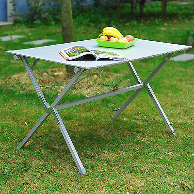 "Outsunny 45""x28""x28"" Aluminum Portable Picnic Table Folding Roll Up Top Aluminum"