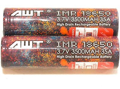 2 NEW AWT IMR 18650 Li-MN BATTERY HIGH DRAIN  3.7v 3500mAh 35A  w/case