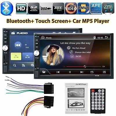 "7"" Autoradio Bluetooth Stereo 2DIN Touchscreen MP3 MP5 Player AUX In USB TF FM"