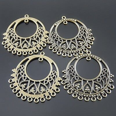 19pcs Antique Bronze Round Hollow Connector Alloy Pendants Charms Findings 52185