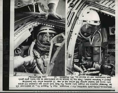 1961 Press Photo Cape Canaveral Astronaut Alan Shepard, in Mercury capsule